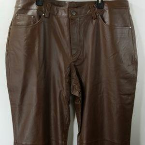 Pants - Plus size ladies leather faux pant